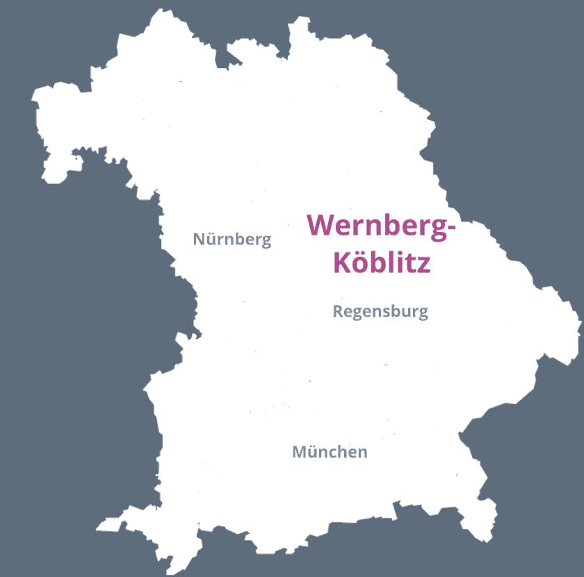 Karte von Bayern mit den Städten Regensburg, München, Nürnberg und Wernberg-Köblitz